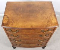 Antique Queen Anne Style Burr Walnut Small Bowfront Chest of Drawers - SOLD